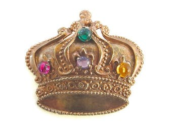 Vintage Crown Brooch, Multicolor Cabochons, Heraldic Crown Pin, Royal Jewelry
