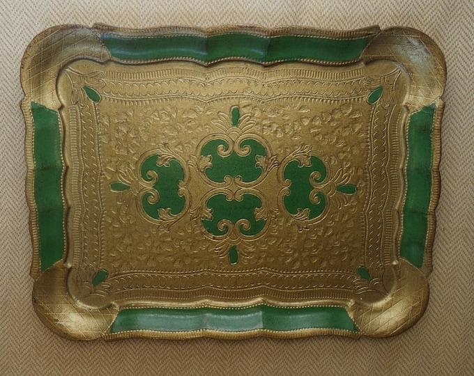 Vintage Florentine Tray, Italian Renaissance, Gold Gilt and Green, Wall Table Decor