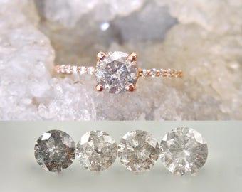 Custom Salt and Pepper Diamond Ring - Diamond Band, Black and White Diamond Engagement Ring, Salt and Pepper Diamond, Modern Engagement