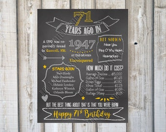 Year You Were Born, Birthday Fun Facts, 71 YEARS AGO in 1947, Time Capsule Printable, Chalkboard Birthday Print, Poster, Digital Download