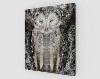 visionary art , sacred art , Canvas print , surreal art , Owl print , nature print , giclee print , canvas wall art , spiritual art , art