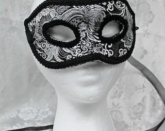 Black Brocade Masquerade Mask, MADE TO ORDER Silver and Black Brocade Paper Mache Masquerade Mask