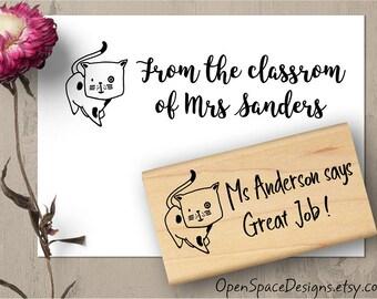 Classroom Stamp, Teacher Gift, Cute Teacher Stamp, Teacher Gift, Cute Cat Stamp, Custom Stamp, Teacher Appreciation Rubber Stamp 153