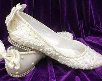 Wedding Shoes, Bridal Shoes, Wedding Shoes Flats, Handmade Lace Flats, Wedding  Shoe