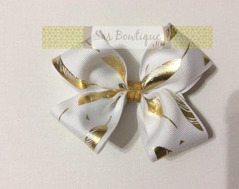 White and Gold Feather Metallic Hair Bow