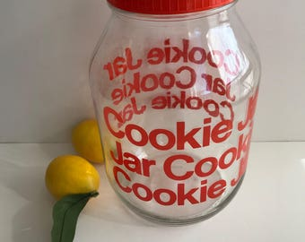 Cool Vintage 1980's Glass Cookie Jar with Red Text