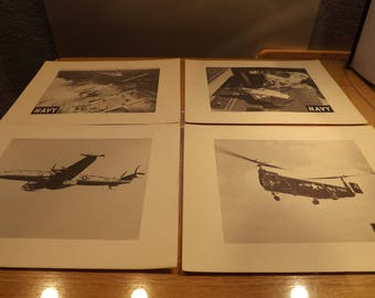 Four Military Navy Enlarged Photographs