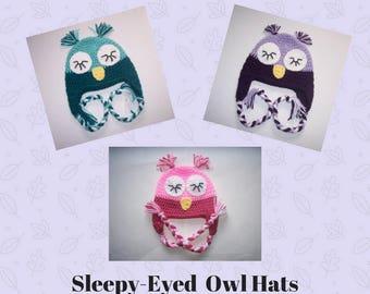 Owl Hat- Baby Owl Hat- Toddler Owl Hat- Child Owl Hat - Animal Hat -Crochet Hats- Baby Hats- Sleepy Owl Hat-- Crochet Hats for Kids