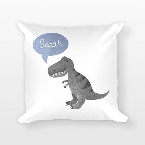 Personalized Pillow, T-Rex Dinosaur Pillow, Custom Name Pillow, Gift for Kids Gift, Kids Room Decor, Animal Pillow, Decorative Throw Pillow