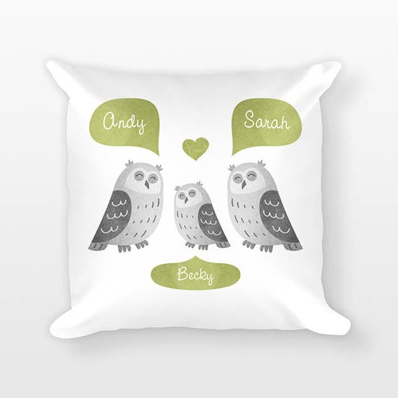 Owl Nursery Pillow Woodland Nursery Decor, Personalized Baby Gift, Baby Shower Gift, Pillow for Kids Room Decor, Animal Nursery Throw Pillow