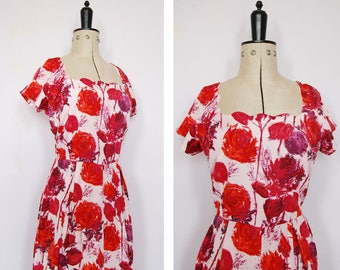 1950s silk floral dress - 50s fit and flare dress - 50s rose print dress - 50s full skirt dress - 50s prom dress - 50s watercolour dress