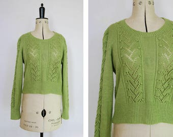 Vintage chartreuse green hand knit jumper - Open knit jumper sweater pullover - Sheer knit jumper