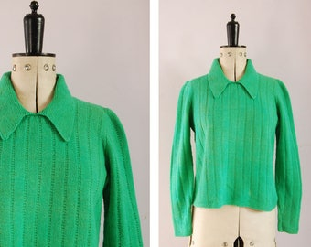 Vintage 1940s Green wool collared sweater - 1940s knit sweater - Collar sweater - Green wool sweater jumper pullover - Vintage knit sweater