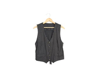 Small Black Rayon Vest With Geometric Polka Dot Pattern & Tie Back // 90s Vest // 90s Vintage Clothing // A64