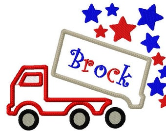 Dump Truck Embroidery Design, Star Dump Truck, 4th of July embroidery Design, patriotic design, applique, 1 size, no fonts/names included