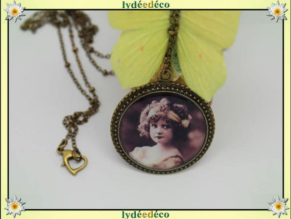 Necklace retro vintage Portrait of girl sepia Locket 25mm bronze tone brass and resin