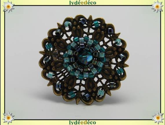 Flower charm retro vintage Adjustable ring Japanese greyish glass 25mm brass beads