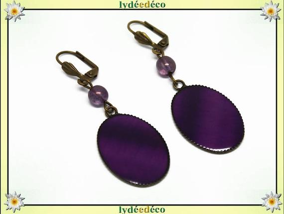 Retro earrings Pink Purple vintage brass bronze resin pendants 18 x 25mm glass beads