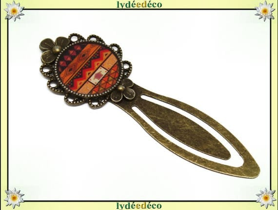 Bookmarks Africa orane retro resin brown black and bronze diameter 20mm