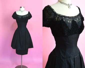 FLASH SALE 30% 7/21-7/24 1950's Vintage Inky Black Bombshell Bad Gal Illusion Neckline Peplum Cocktail Dress Wasp Waist Lace Organza Mad Men