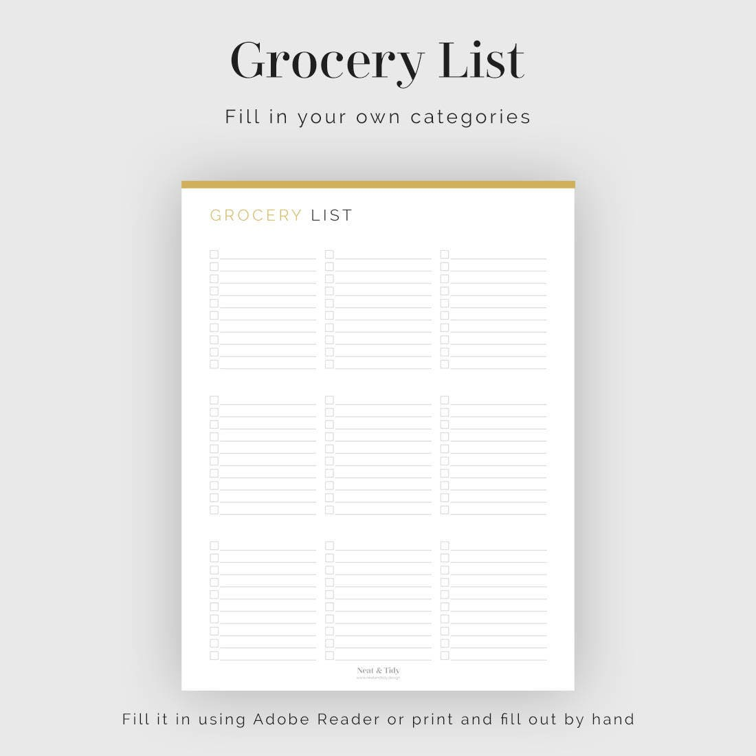 grocery list categories