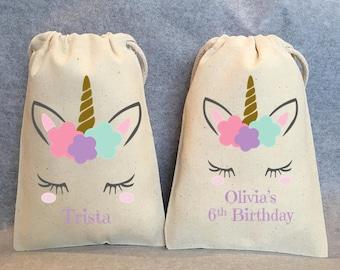 "7- Unicorn Party, Unicorn Birthday, unicorn party favors, Unicorn bags, Unicorn favor bags, Unicorn party favor bags, Unicorn bag, 5""x8"""