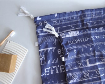 Travel laundry bags, drawstring bags - Set of 2 - White rulers on blue
