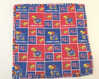 University of Kansas, Kansas fabric, Kansas Mini Quilt, KU Mini-Quilt, Coaster, Mug Rug, Candle Mat, Kansas Jayhawks