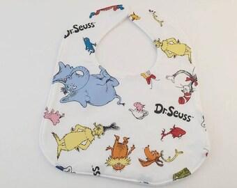 Baby Bib, Dr Seuss Bib, Baby Gift, Baby Feeding, Horton Baby Bib, One Fish, Blue Baby Bib,  Baby Shower Gift, Newborn Gift, Unisex Baby