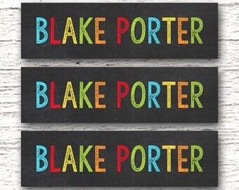 80 Skinny Personalized Waterproof Labels  Dishwasher Safe Daycare Kindergarten Label Back to School supplies - Boy Chalkboard 003