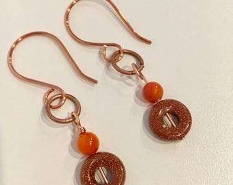 Orange Stone Drop Earrings, Copper Circle Earrings, Goldstone Orange Shell Earrings, Simple Earrings, Modern Handmade Earrings, Geometric