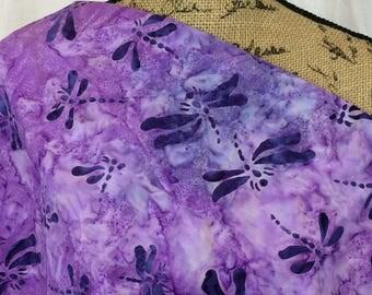 Batik Fabric--Hand Dyed Fabric--Indonesian Batik Fabric--Purple Grape Tie Dye with Dark Purple Dragonflies--Batik Fabric by the HALF YARD
