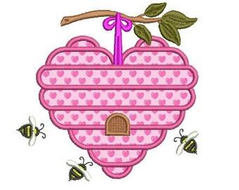 Bee hive applique embroidery design