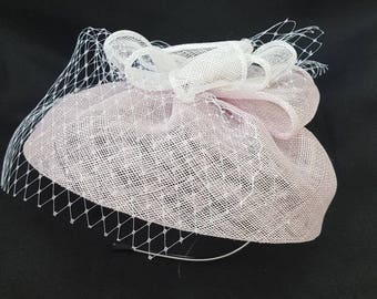 Pink fascinator hat, Wedding hat, Cocktail hat, Kentucky Derby Hat, Pink bridal headpiece, ladies day, Tea party hat, sinamay hat.