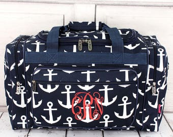 Large Duffel Bag in Navy with White Anchors.  Personalized.