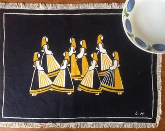 Liv Hassel Placemat, Linen Textile, Norway 1960, New Old Stock, Bold Graphics, Fab Gift Display Decor, Women Dancing, Aprons, Clogs, Fringe