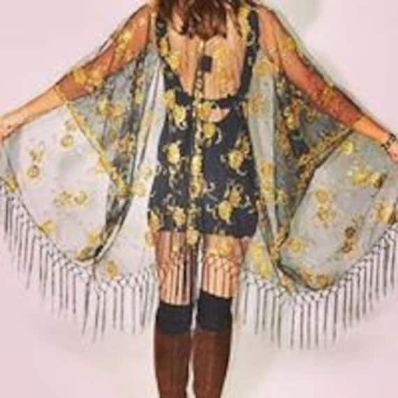 Black Lace and Metallic Gold Thread Kimono