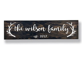 Antler Family Sign, Personalized Sign, Rustic Family Sign, Last Name Sign, Family Name Sign, Last Name Established Sign, Wedding Gifts