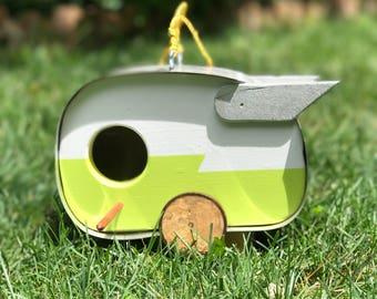 Camper Birdhouse, Shasta, Airflyte, Airstream, birdhouse, camper, vintage camper, retro camper, lime, white, yard art, garden art