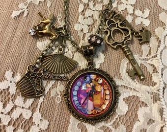 "Vintage, Pendant, Charm Necklace ""Mulan"" Inspired By Disney.  Antique Bronze Tone."