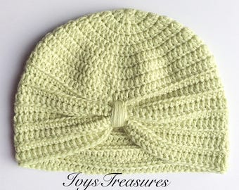 Crochet Baby Turban, Crochet Baby Hat, Photo Prop, Baby Beanie, Baby Accessory 6-12 month old.