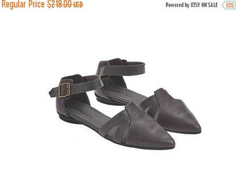 ON SALE Grey textured leather sandals, Vivian, flat buckled sandals