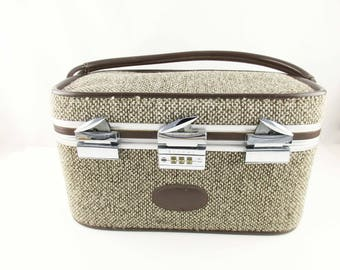 Train Case by 'Skyway' - Plastic Covered Quilted Lining - Tweed Fabric Exterior -  Brown/Tan - Flexible Carry Strap - Combination Lock
