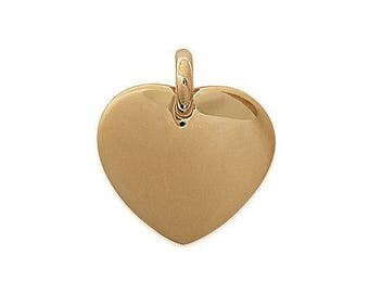 Pendant engraved heart thick plated gold