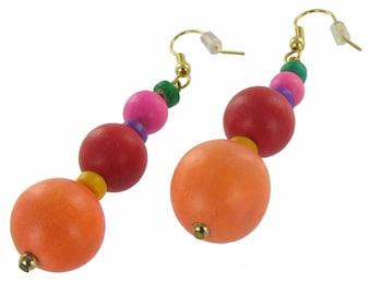 Vintage Pink Rainbow Beaded Dangle Pierced Earrings 1980s
