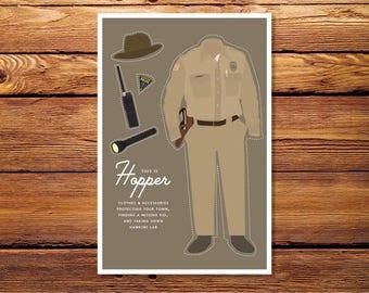 """Stranger Things - Hopper 4""""x6"""" Giclee Print"""