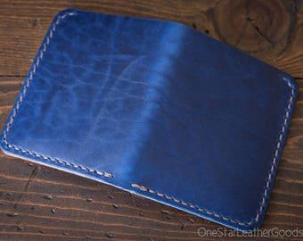 6 Pocket Horizontal wallet, Horween Chromexcel leather - blue