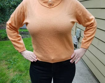 Beautiful Peachy Angora and Wool Sweater