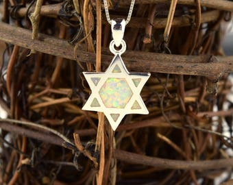 Star of David Sterling and White Created Opal Necklace