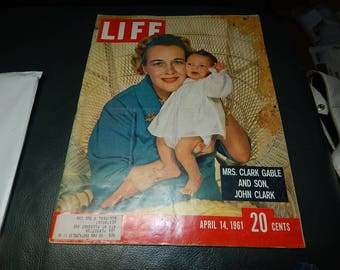 LIFE Magazine, Mrs Clark Gable and Son, John Clark, April 14, 1961 edition, 20 cents